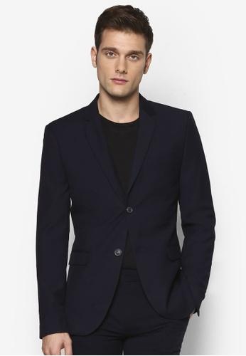 Topman 藍色 合身西裝外套 TO413AA56UMXMY_1