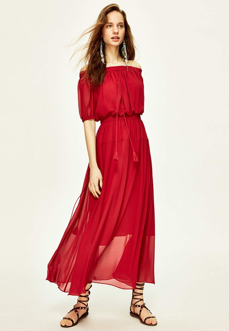 Hopeshow Red Off with Shoulder Tassels Layered Wine Dress 2 BHOSSq