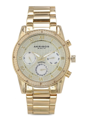 Akribos XXIV gold Diamond Date Beaded Watch DC1B0AC0A3E690GS_1