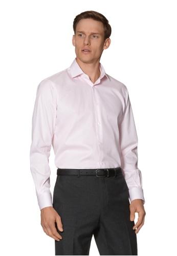 T.M. LEWIN pink T.M.Lewin Gyroscopic Print Slim Fit Pink Single Cuff Shirt 5EA18AA32E0665GS_1