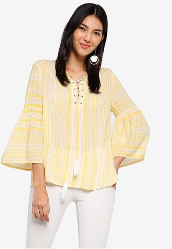 ZALORA yellow and multi Flare Sleeves Lace Up Top 95F51AA005F695GS_1