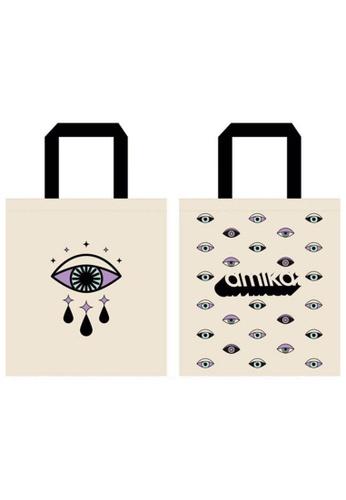 Amika beige amika Limited Edition Tote Bag- Eyes Wide Shut (Mint& Purple) 8DC99AC9EA0F0DGS_1