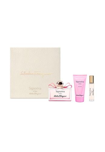 Salvatore Ferragamo pink Signorina In Fiore EDT 100ml Set (EDT 100ml + Body Lotion 50ml + Travel Spray 10ml) 610E0BE2162D5EGS_1
