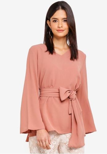 Zalia pink Waist Tie Top 185C8AA5B0A580GS_1