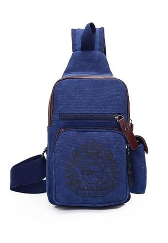 Jackbox blue Korean Fashion Canvas Badge Design Sling Shoulder Messenger Bag 342 (Blue) JA762AC0RNEOMY_1