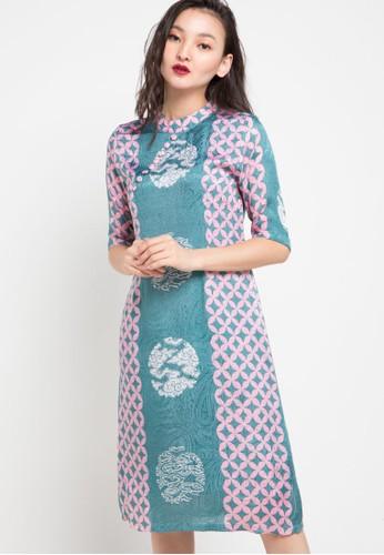 Vestiti green and multi Queensha Silk Dress 683B2AA5EFEFA9GS_1