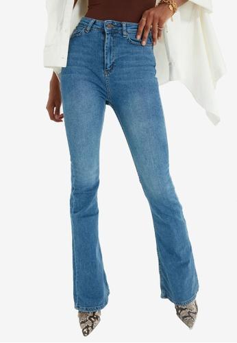 Trendyol blue High Waist Flare Jeans 2D8F7AA0759588GS_1