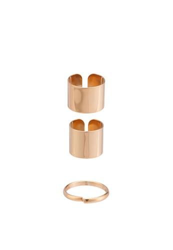 三層堆疊開口戒指組,zalora退貨 飾品配件, 飾品配件