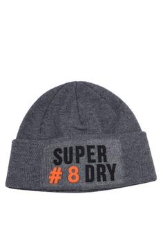23d55224878 Superdry grey Super Logo Beanie 43ECEAC9C3AC67GS 1