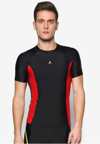 色塊拼接短esprit台灣門市袖高領泳衣, 服飾, 運動