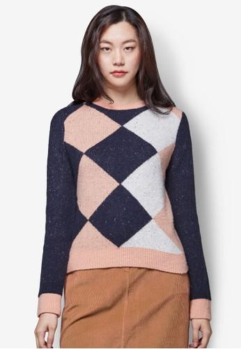 亮飾鑽形圖樣針織長袖衫, 服飾,zalora 台灣門市 上衣