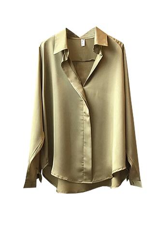 Twenty Eight Shoes green VANSA Shiny Satin Long Sleeve Shirts  VCW-Sh0322 6020DAAF5B850AGS_1