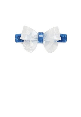 Glamorousky silver Fashion Simple Light Blue Ribbon Large Hair Slide E943FACEB5BD83GS_1