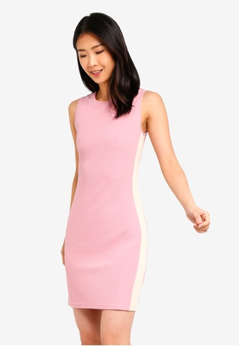 ZALORA BASICS pink Basic Contrast Colour Line Dress 4C3C8AA9660F88GS_1