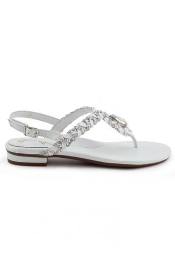 Shu Talk white Boho Nappa Leather T-Strap Sandal SH397SH0FPJ0SG_1