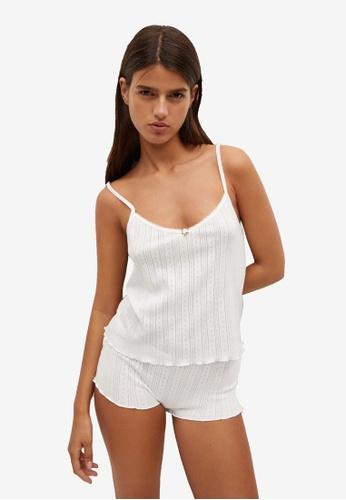 Mango white Cotton Pyjama Top D533FAA918639CGS_1