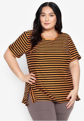 Maxine orange Plus Size Striped T-Shirt A0C32AA90B7AF7GS_1