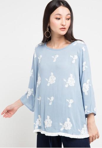Chic Simple blue Tassel Hem Emb Crinkle Cotton Blouse FA73BAA8959B12GS_1