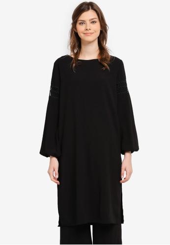 Zalia black Lace Trim Long Top EADE7AA4C78CF4GS_1