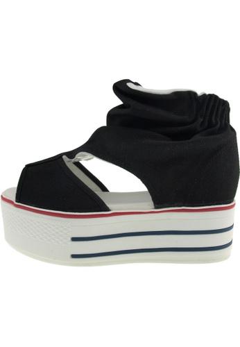 Maxstar 黑色 新款韩国鞋C50-Wrinkle時尚帆布布混合女黑色 US Women Size MA345SH91GXKTW_1