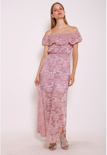 Leline Style pink Alyssa Off Sholder Lace Maxi Dress LE802AA0GKUXSG_1