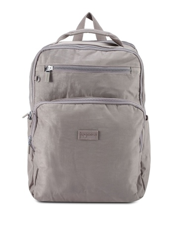 Bagstationz grey Crinkled Nylon Backpack B602AAC6E2280CGS_1