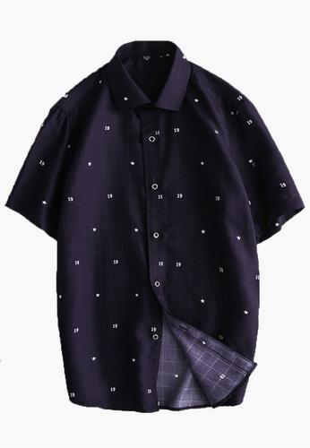 Trendyshop navy Slim Casual Short Sleeves Shirt 43290AAFCB0555GS_1