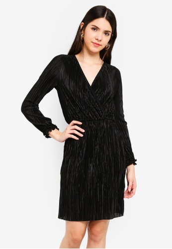 River Island black Plisse Wrap Front Mini Dress 939A8AA5783751GS_1