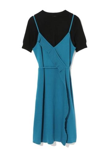 b+ab blue Layered knit dress 8DE77AA586AA6FGS_1