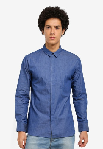 ZALORA navy Jet Pocket Chambray Long Sleeve Shirt 2F77AAA7C05C7DGS_1