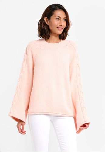 River Island pink Cable Knit Wide Sleeve Jumper 49DD9AABD789BBGS_1