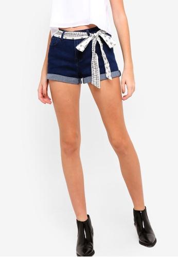 Something Borrowed blue Bandana Tie Denim Shorts 74341AADC66866GS_1