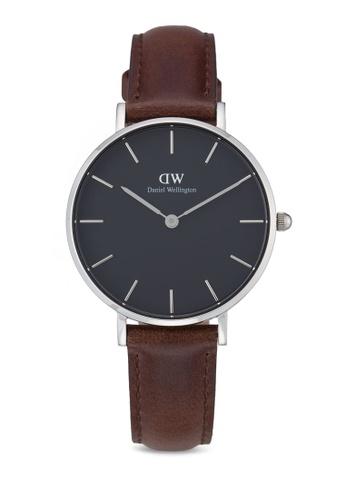 Daniel Wellington silver and brown Classic Petite Bristol Watch DA376AC54PLXMY_1