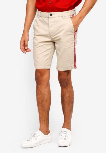 Topman 米褐色 條紋滾邊短褲 6CF93AA339C68CGS_1