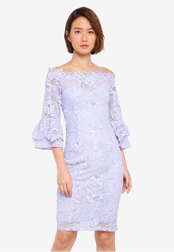 Paper Dolls blue Crochet Lace Chiffon Flute Sleeve Bardot Dress 41595AA7D23416GS_1