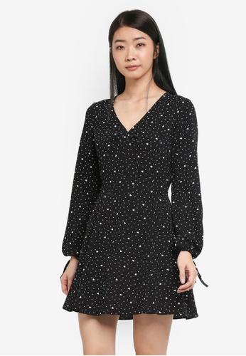 Miss Selfridge black and multi Heart Print Holly Tea Dress A2F0EAAA18F34FGS_1