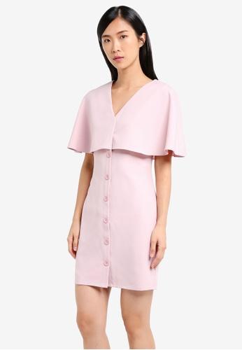 ZALORA pink Capelet Dress CFD14AAE7D3FEBGS_1