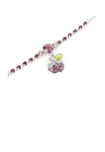 Glamorousky purple Fancy Bracelet with Purple Apple Charm in Purple Austrian Element Crystals D5A12AC0B2471AGS_1