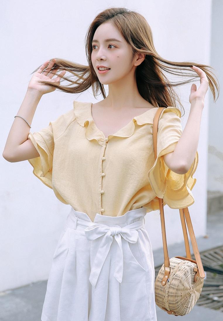 Shopsfashion Ruffles Yellow Yellow in Blouse Collar U4wFqHO