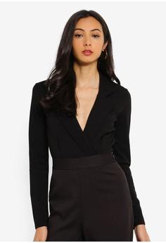 b641dbd57627b5 MISSGUIDED black Crepe Wrap Blazer Bodysuit A14CFAA10C3242GS 1
