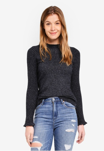 Abercrombie & Fitch black Button Mockneck Turtle Pullover D7159AA755566AGS_1