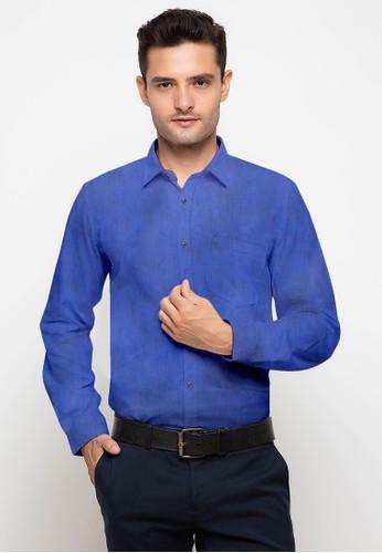 RICCIMAN blue Ricciman Slim Fit Shirt Long Sleeve Blue L-PMF9532K-BR 4F809AA84D3935GS_1