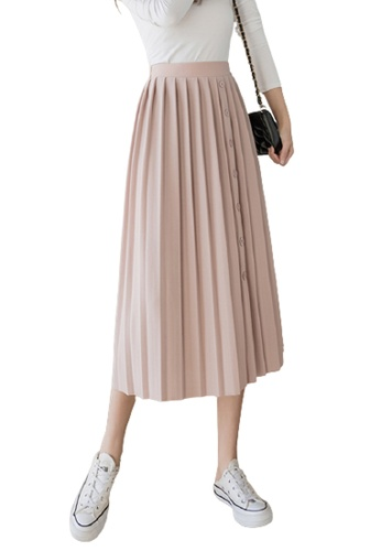 Halo pink Pleated Midi Skirt A2176AA21257A7GS_1