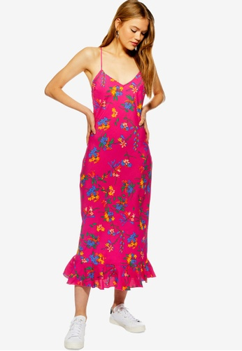TOPSHOP pink Bright Floral Print Slip Dress A8FB9AA2612D1AGS_1