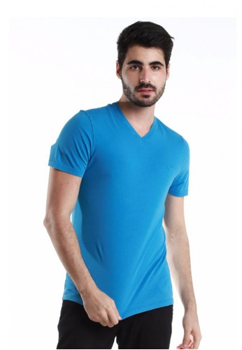 Fred Perry Green Label blue Blue V-Neck Short Sleeve Tee Shirt FR595AA37KWSMY_1