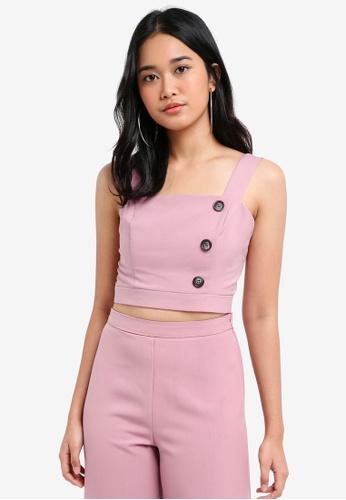 Miss Selfridge pink Petite Pale Pink Button Detail Crop Top ACD2DAA29C9B0CGS_1