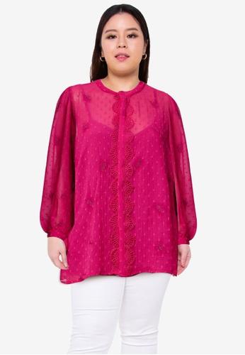 Junarose red Plus Size Amana Long Sleeve Blouse 0CFB9AA8F6FA96GS_1