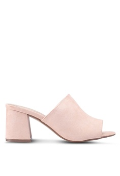 64a2bc6ff03d MISSGUIDED pink Mid Flared Heel Peep Toe Mules Pu 8503ASHF157481GS 1