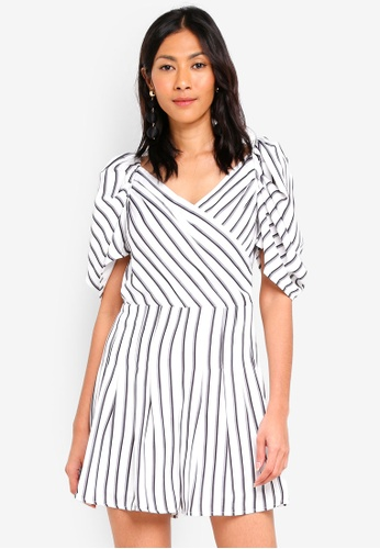 MDSCollections white Annabelle Puff Romper In Stripes 64929AA135E75BGS_1