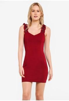 【ZALORA】 Zipped 皺摺 Bodycon Mini 連衣裙
